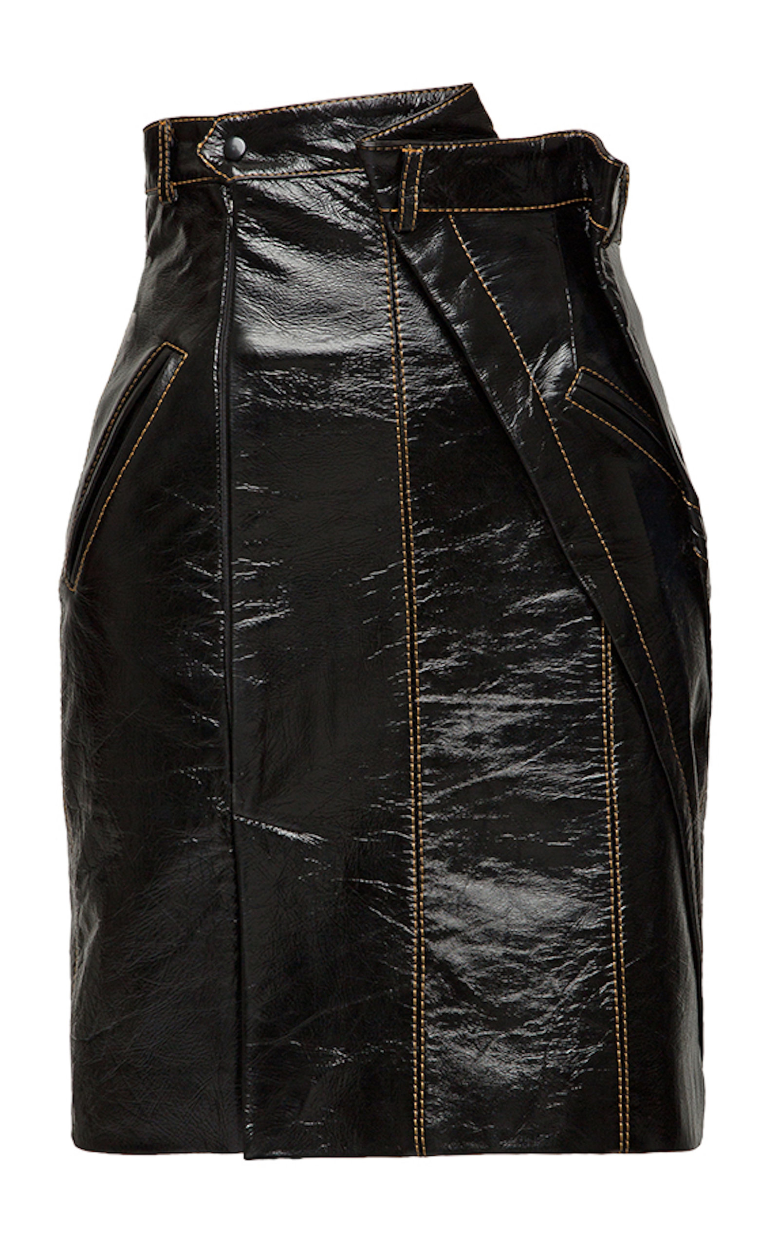 SITUATIONIST Leather Mini Skirt in Black