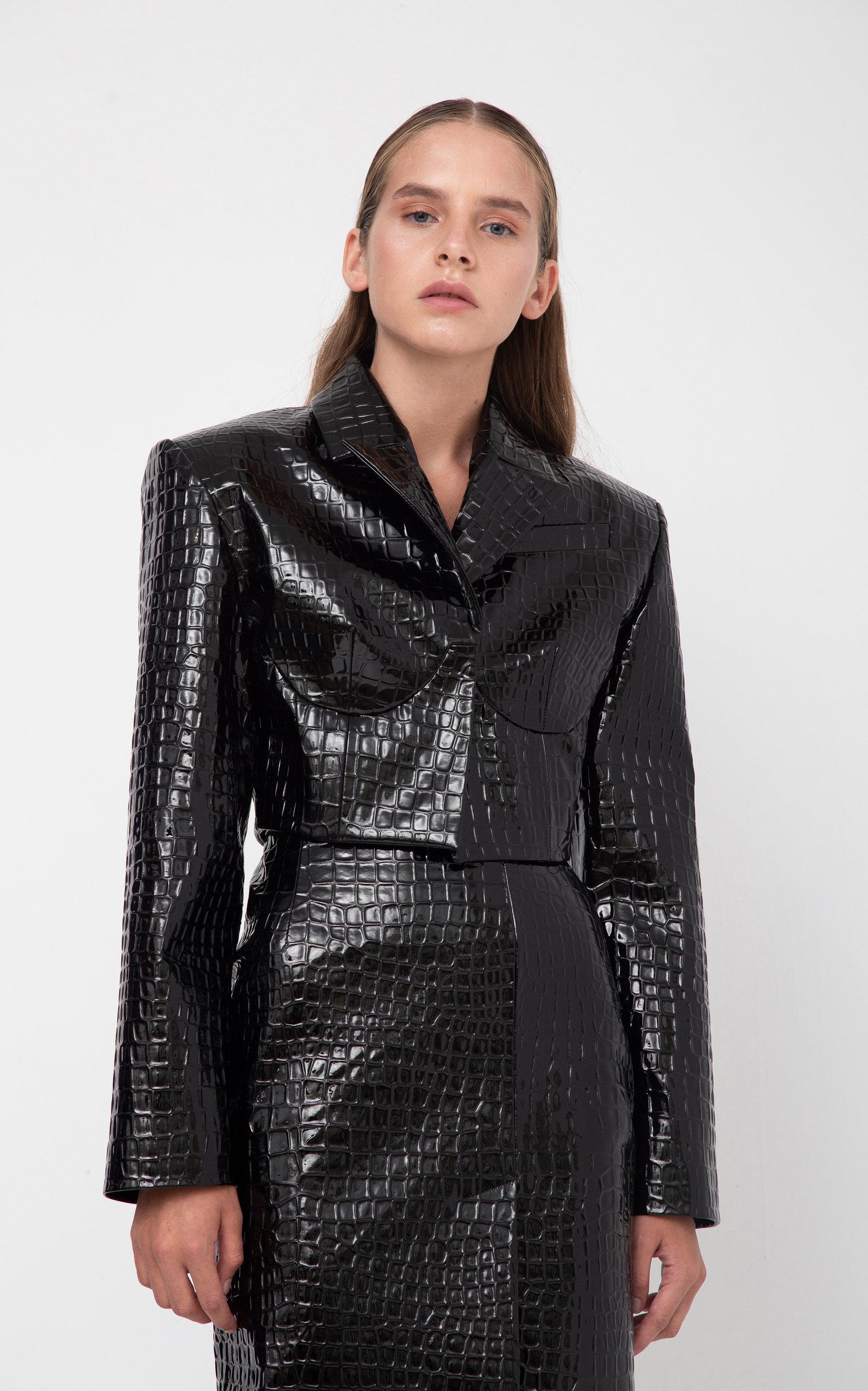 Crocodile Textured Cropped Blazer in Black