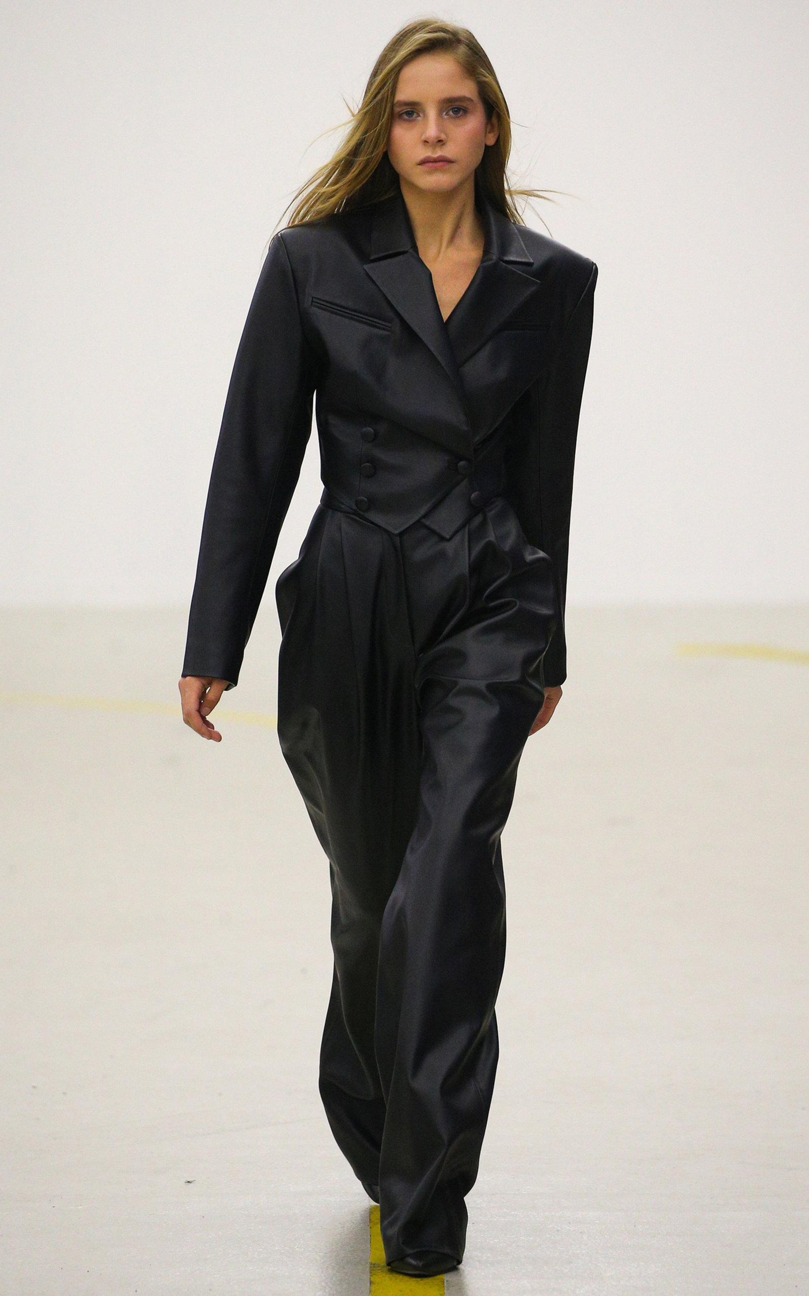 MATERIEL Faux Leather Cropped Blazer in Black
