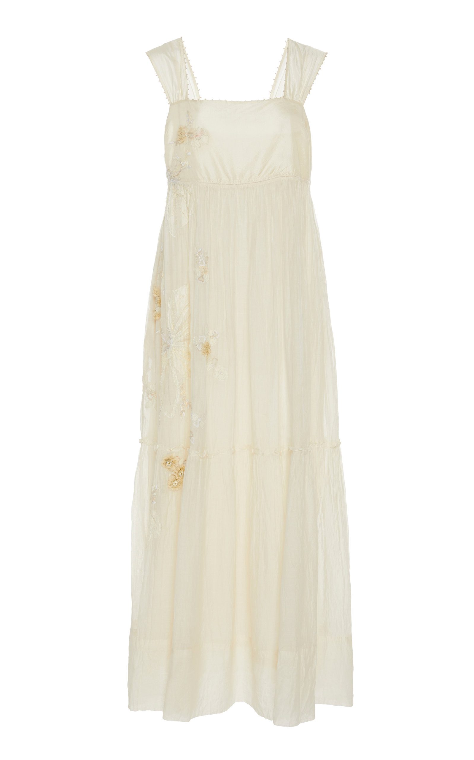 PÉRO Embroidered Cotton Dress in White