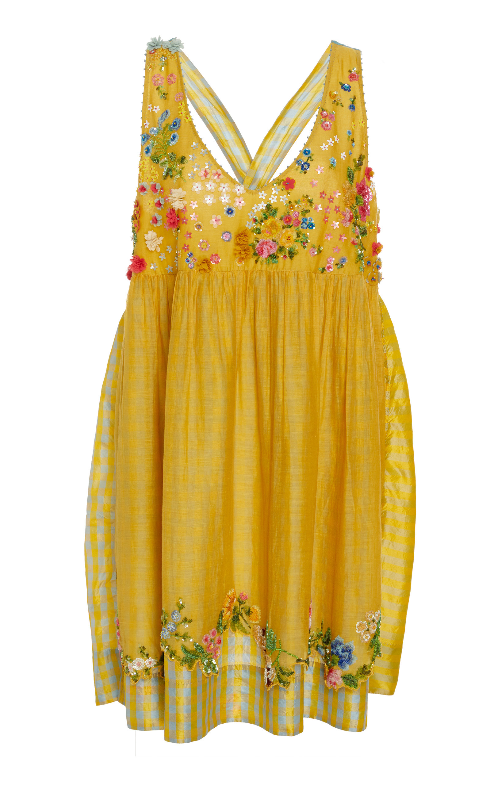 PÉRO Beaded Cotton Dress in Yellow