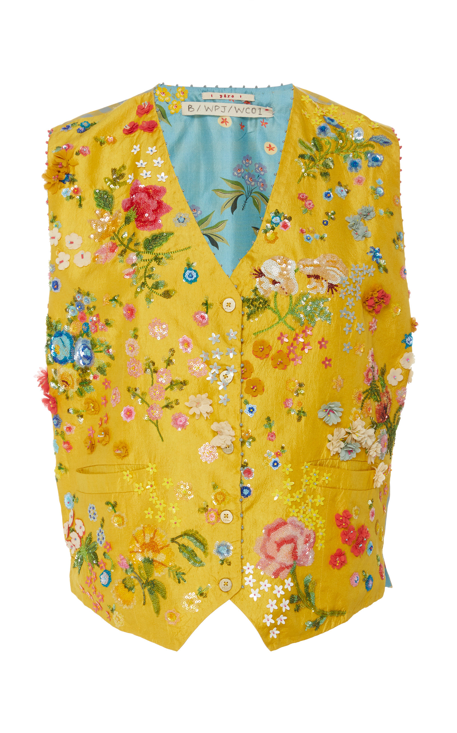 PÉRO Embroidered Silk Waistcoat in Yellow