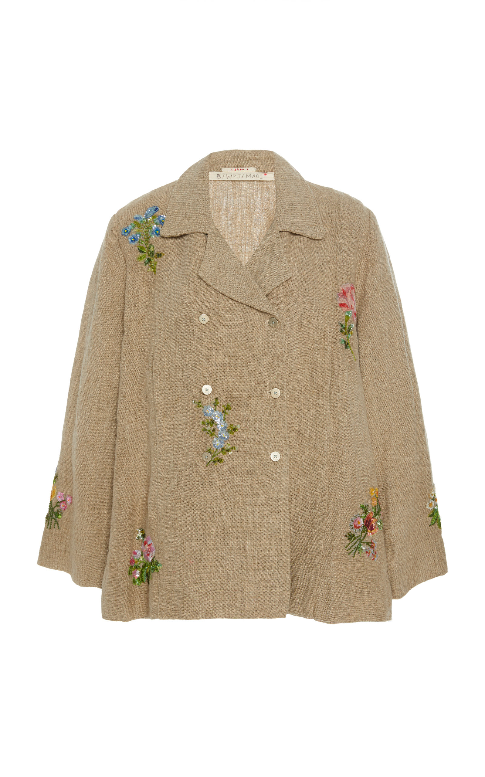 PÉRO Floral Embroidered Linen Jacket in Neutral