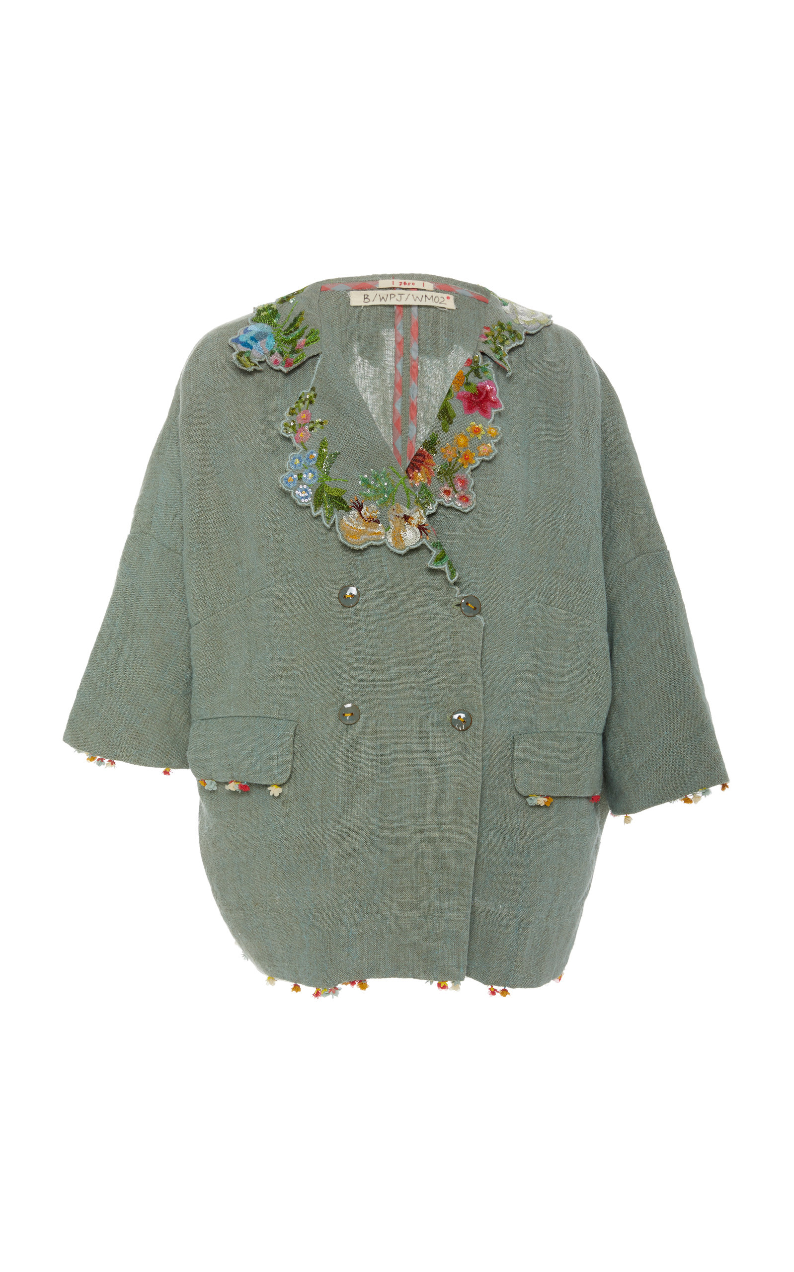 PÉRO Embroidered Collar Linen Jacket in Blue