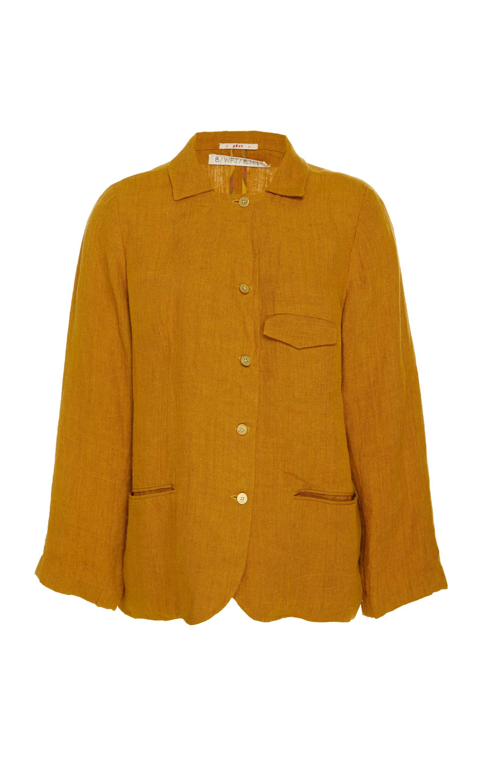 PÉRO Tailored Linen Jacket in Yellow