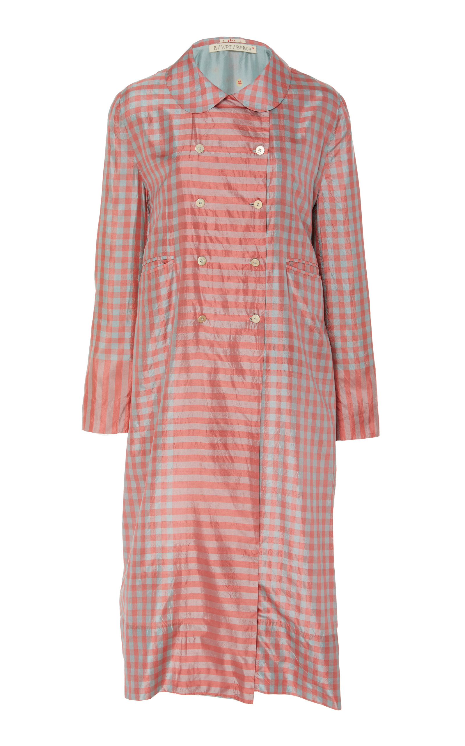 PÉRO Checked Silk Jacket in Pink