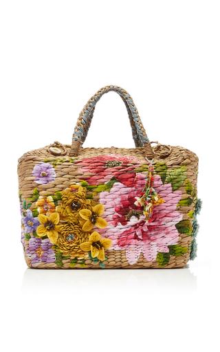 PÉRO | Péro Appliquéd Floral-Print Straw Basket Bag | Goxip