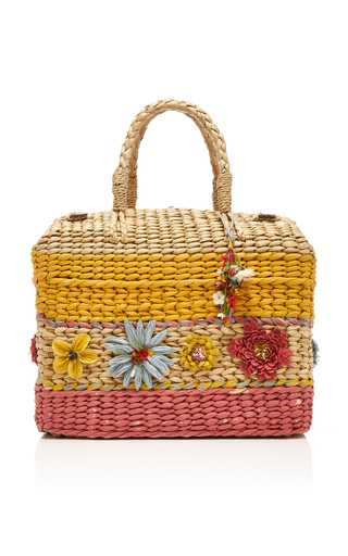 PÉRO | Péro Appliquéd Striped Straw Basket Bag | Goxip