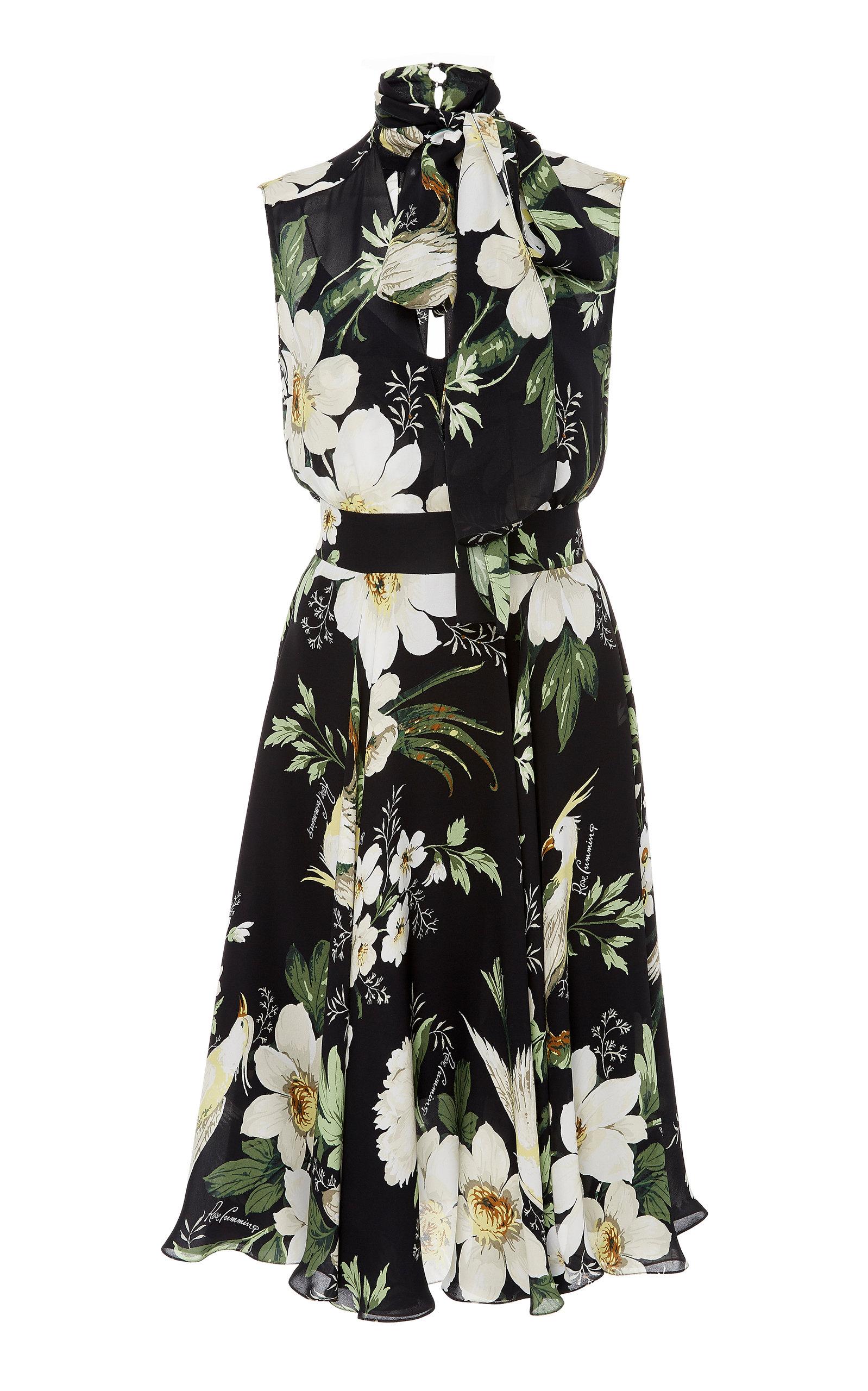 b818d912 Carolina HerreraMidnight Garden Tie-Neck Floral-Print Silk-Chiffon Dress