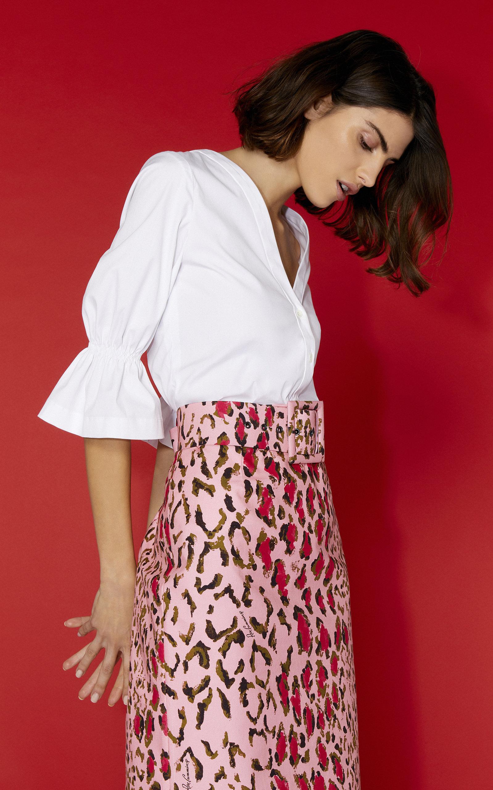 86f900bf60 High-Waisted Leopard-Print Cotton-Blend Pencil Skirt by Carolina ...