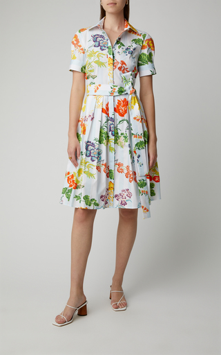 e22f0102879 Floral-Print Belted Cotton-Blend Midi Shirt Dress