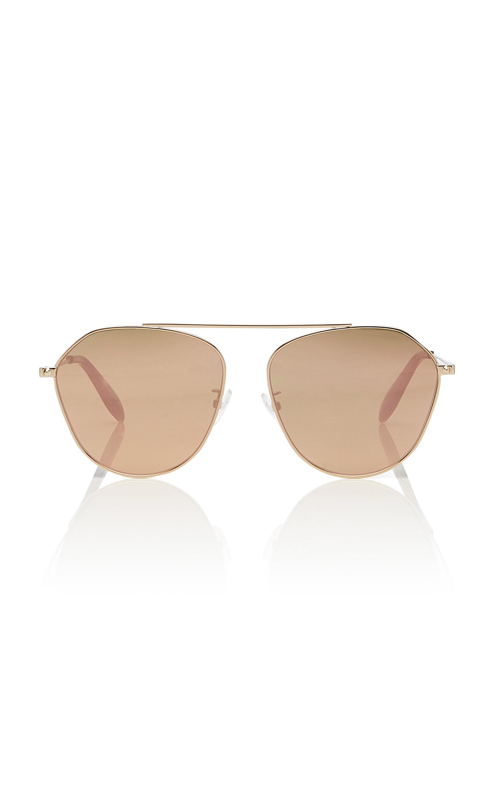 ALEXANDER MCQUEEN | Alexander McQueen Sunglasses Gold-Tone Mirrored Aviator-Style Sunglasses | Goxip