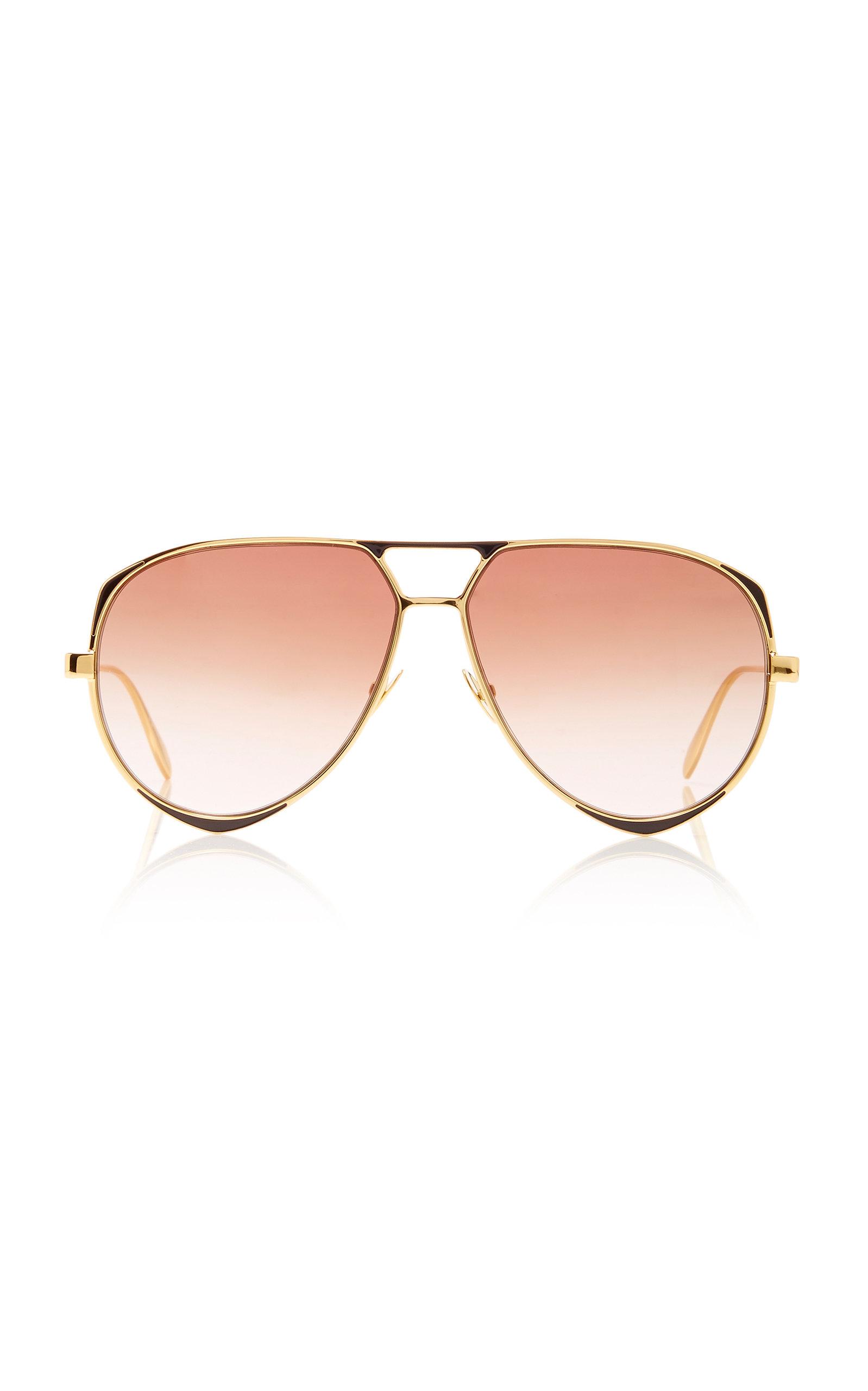 ALEXANDER MCQUEEN | Alexander McQueen Sunglasses Gold-Tone Metal Aviator Sunglasses | Goxip