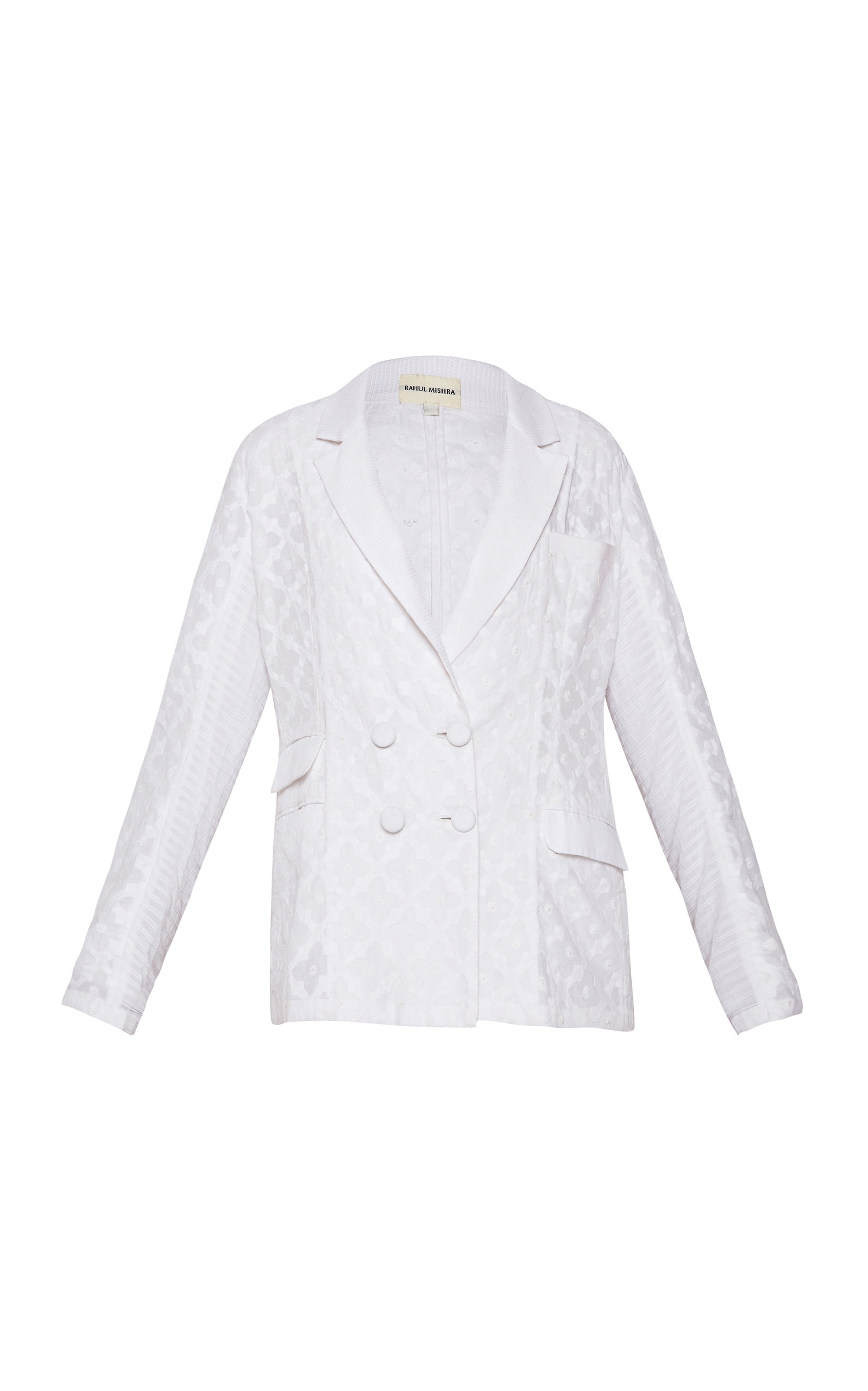 RAHUL MISHRA Jharokha Double Breasted Cotton Embroidered Blazer in White