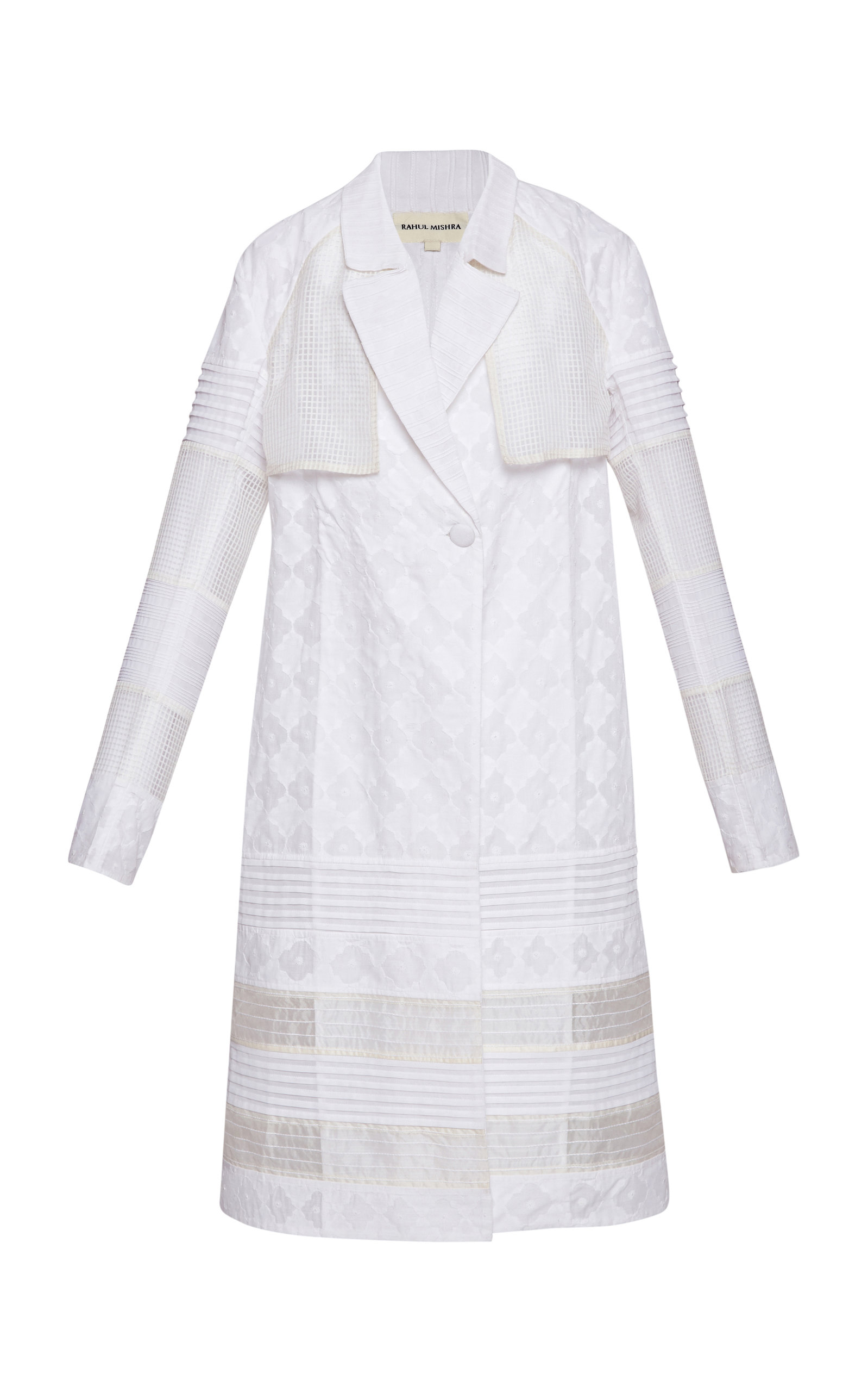 RAHUL MISHRA Quatrefoil Daraj Cotton Embroidered Trench in White