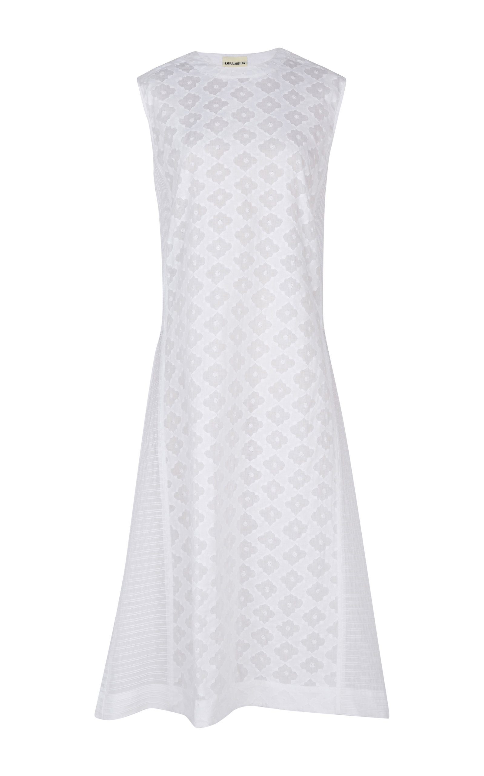 RAHUL MISHRA Jharokha Daraj Embroidered Cotton Long Dress in White