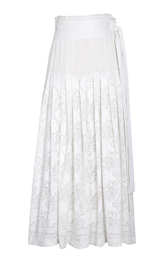 RAHUL MISHRA | Rahul Mishra Gulab Horizon Embroidered Silk Skirt | Goxip