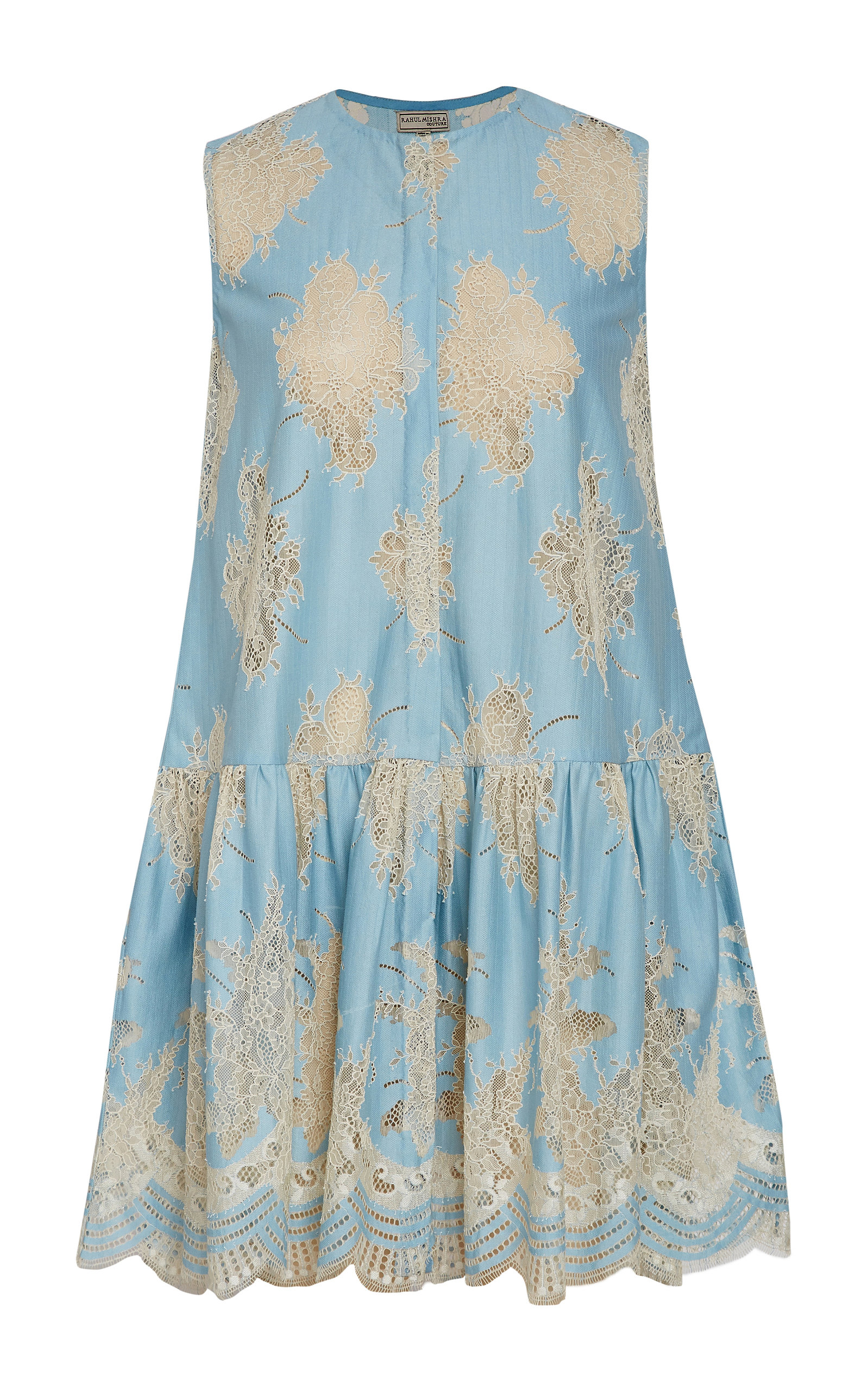RAHUL MISHRA Dew Lace Gathered Cotton Blend Sleeveless Top in Blue