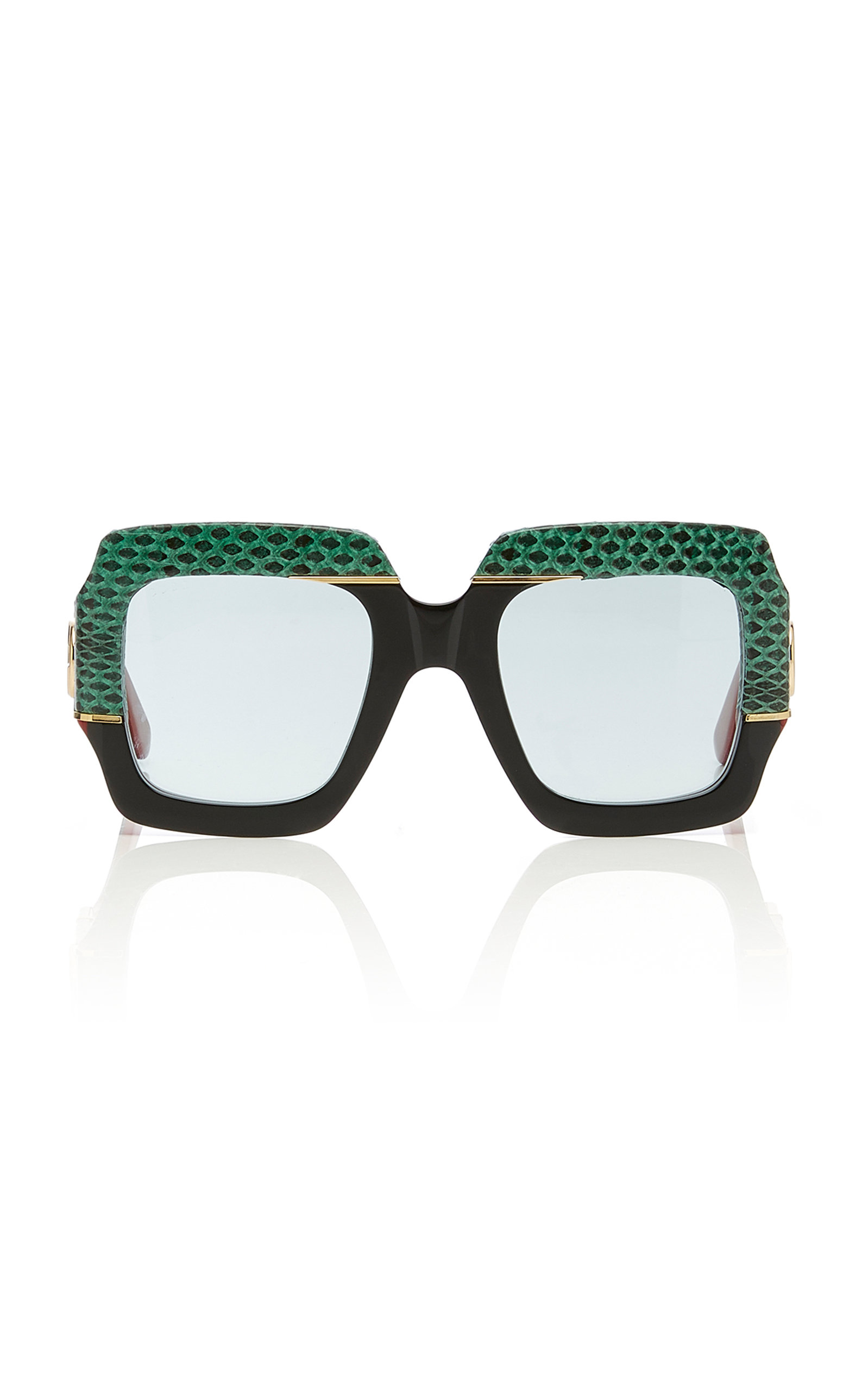 06de859f1951 Gucci SunglassesSquare-Frame Snakeskin and Acetate Sunglasses. CLOSE.  Loading