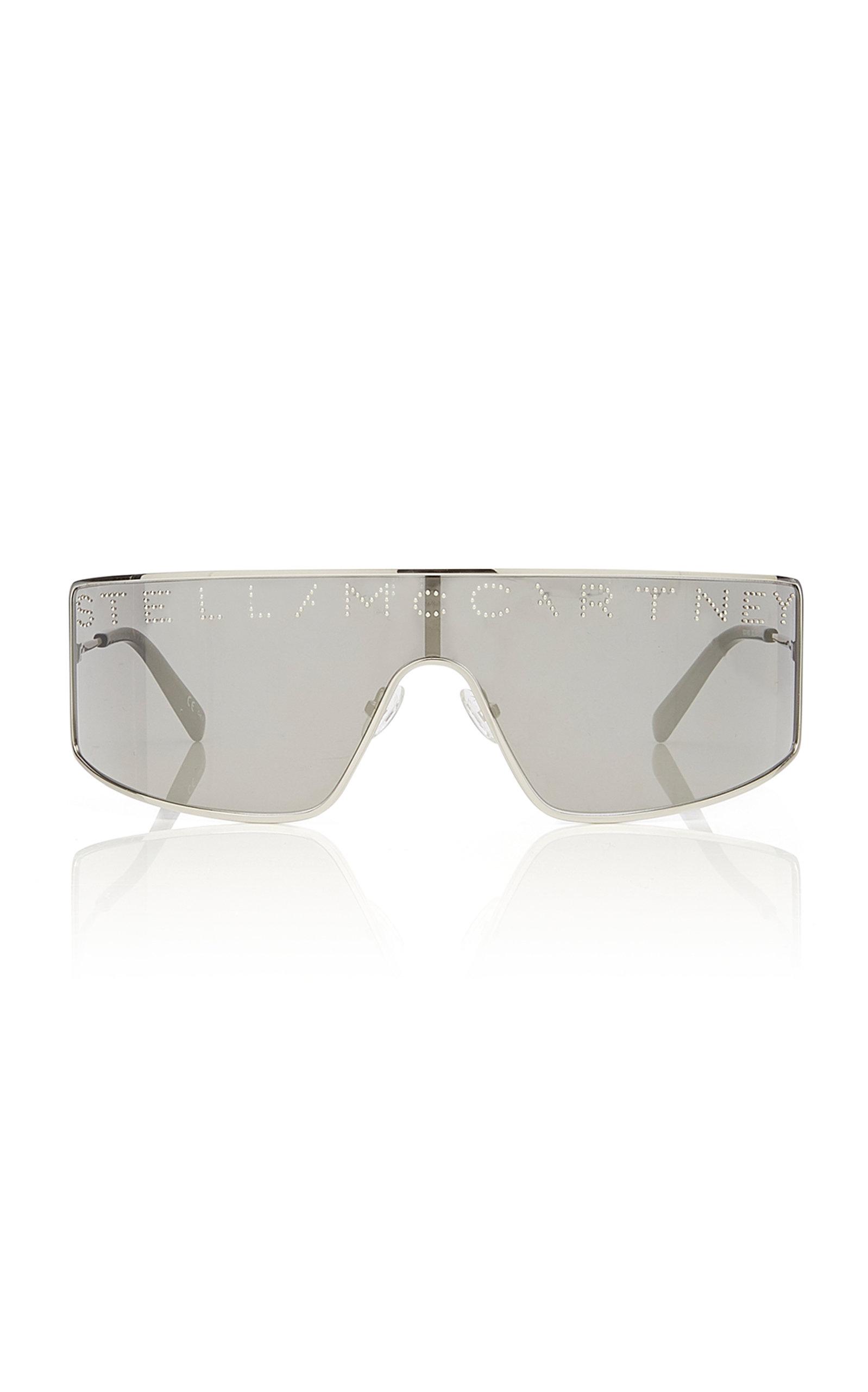 3093e0e799 Stella McCartney SunglassesLogo Stud-Embellished Silver-Tone Sunglasses