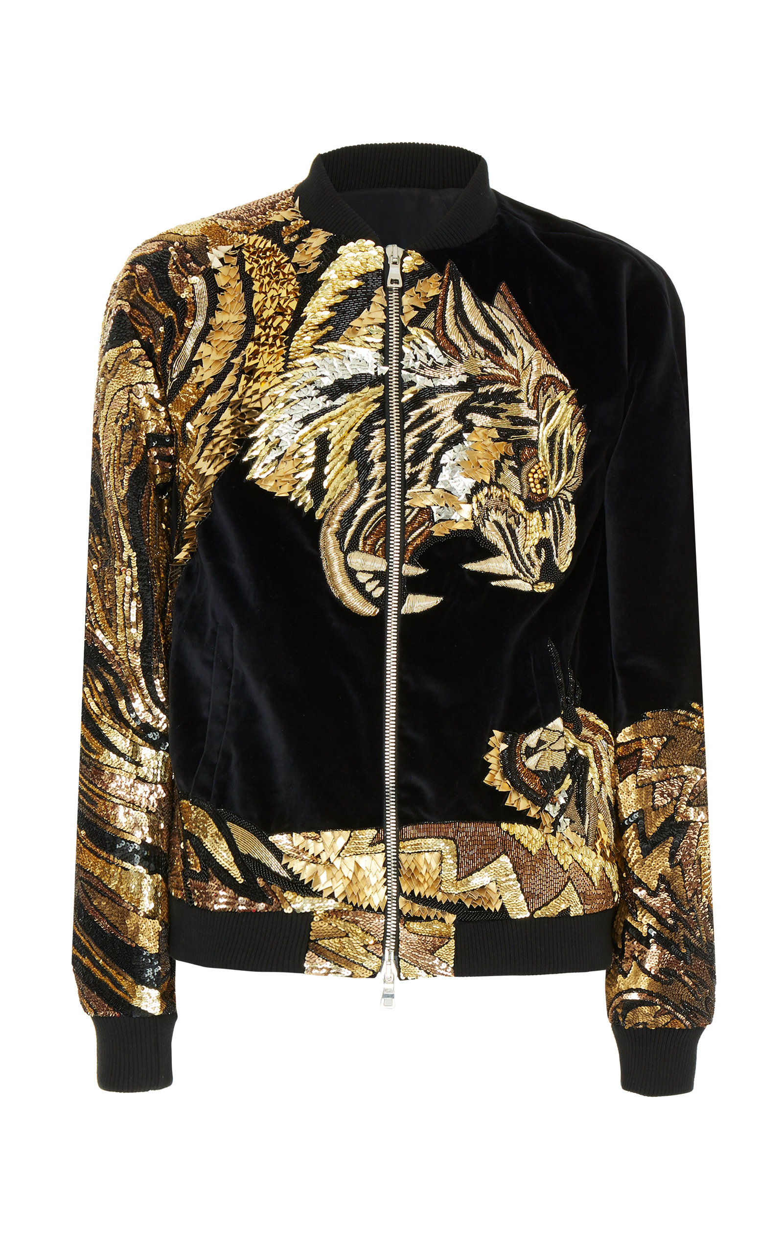 dace05511 Tiger Embroidered Bomber Jacket