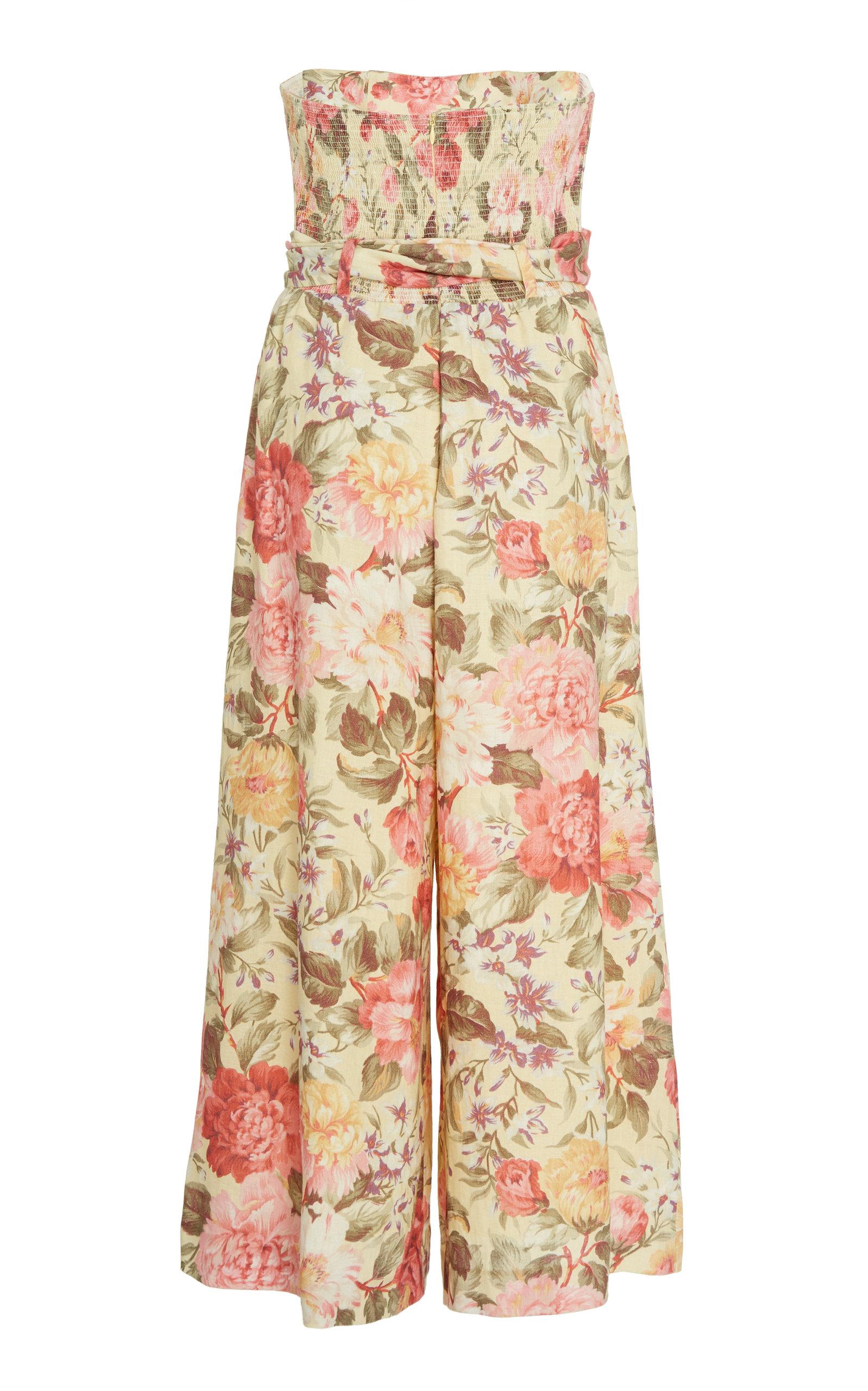 Zimmermann Suits Honour Floral-Print Linen Jumpsuit