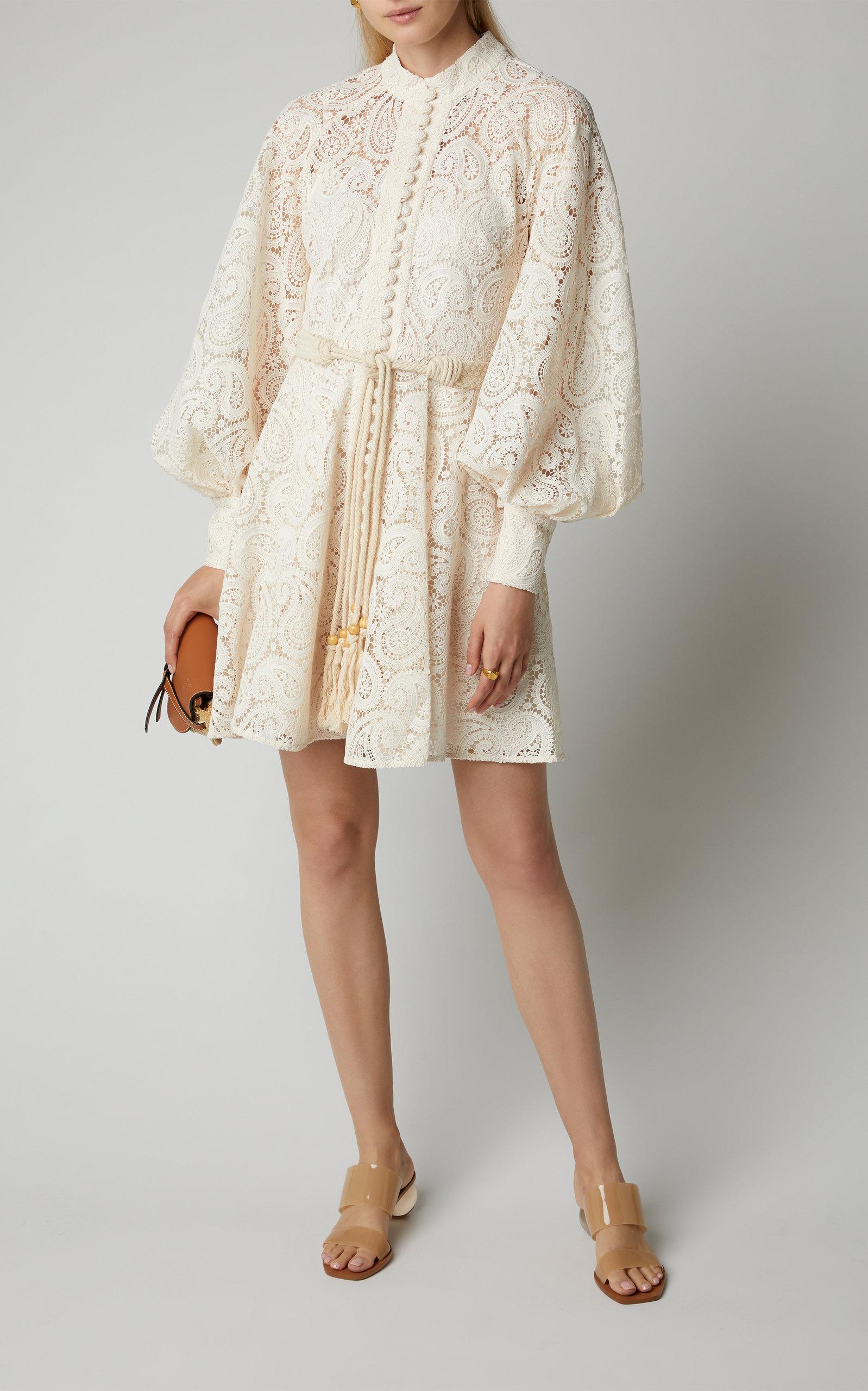 Zimmermann Dresses Amari Belted Lace Mini Dress
