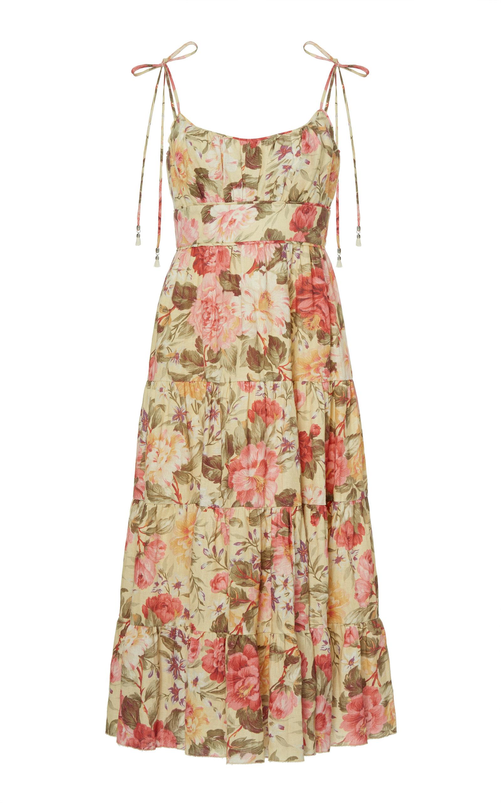 defc2ad04ea77 Honour Floral-Print Linen Midi Dress by Zimmermann | Moda Operandi