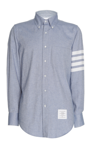 ae7bc09a915 Thom BrowneStripe-Detailed Cotton-Flannel Button-Down Shirt