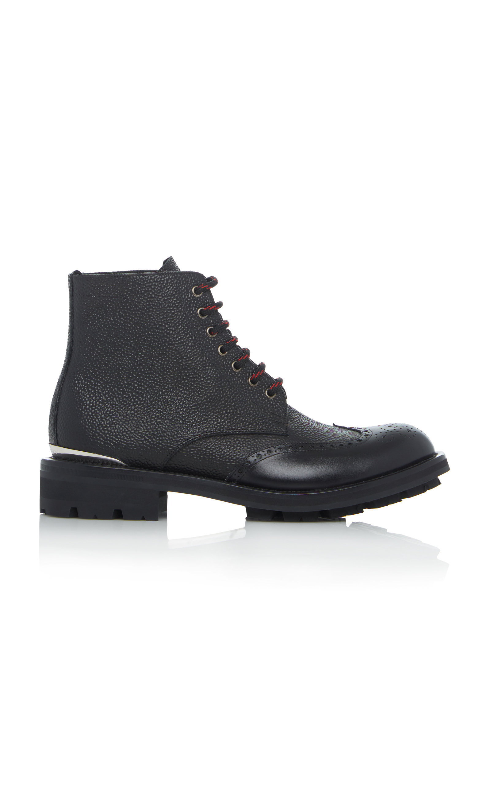 Textured Leather Brogue Boots by Alexander Mc Queen