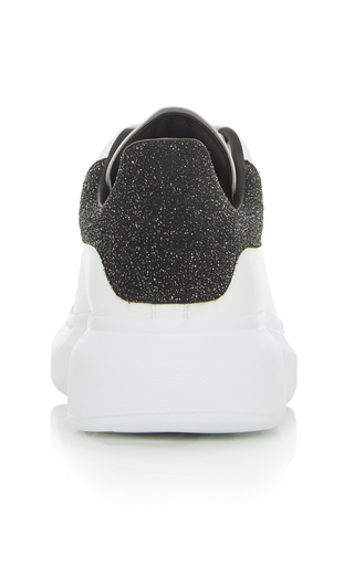 Alexander Mcqueen 'Oversized Sneaker' In Leather With Glitter Collar In White
