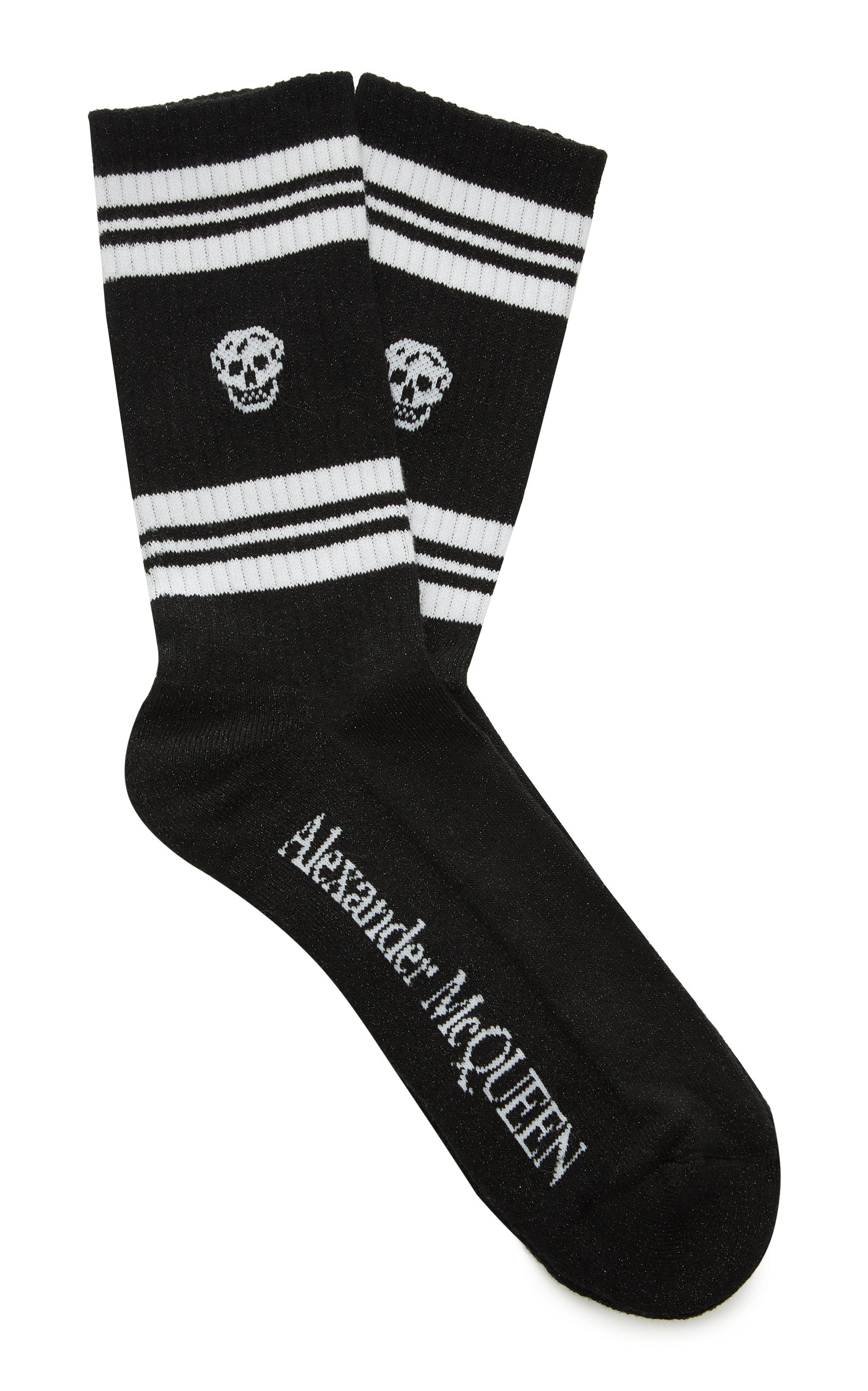 ALEXANDER MCQUEEN | Alexander McQueen Striped Rib-Knit Cotton-Blend Socks | Goxip