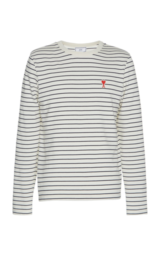 Ami Alexandre Mattiussi Logo Patch Striped Cotton Long-sleeved T-shirt
