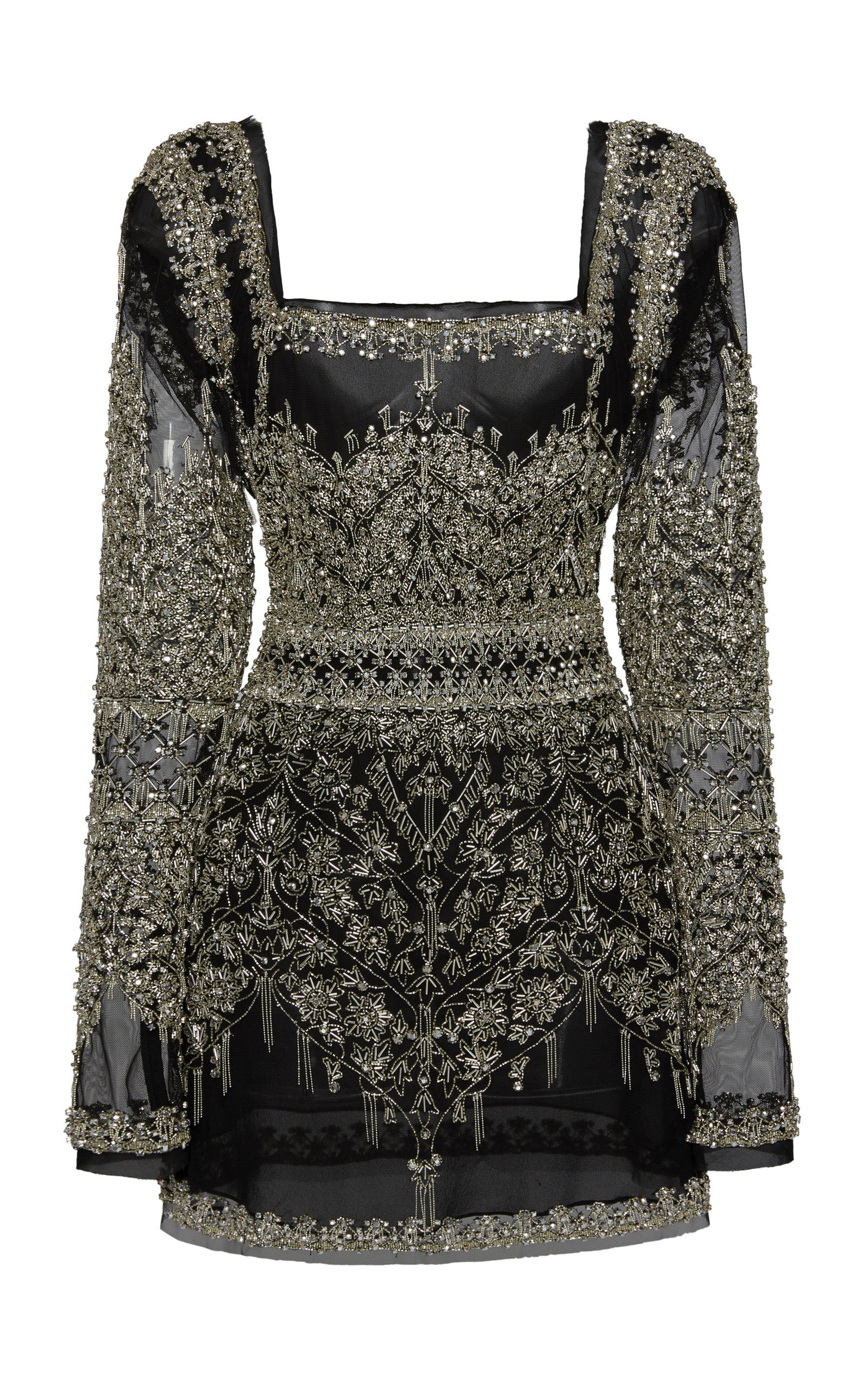 CUCCULELLI SHAHEEN Floreale Armore Mini Dress in Black