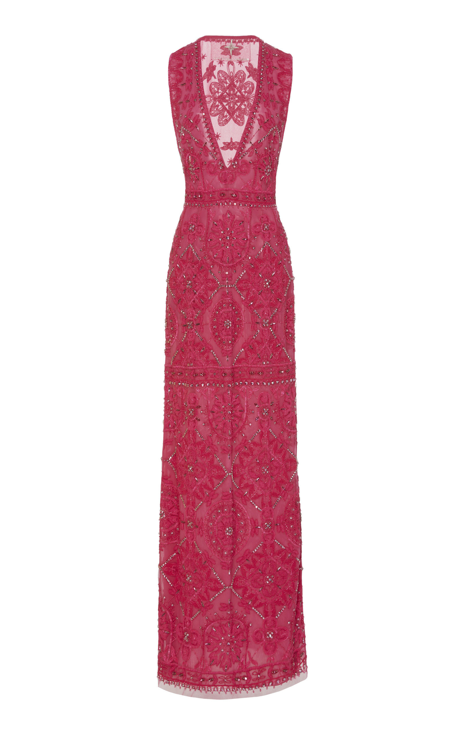 CUCCULELLI SHAHEEN Point Noue Silk Gown in Pink