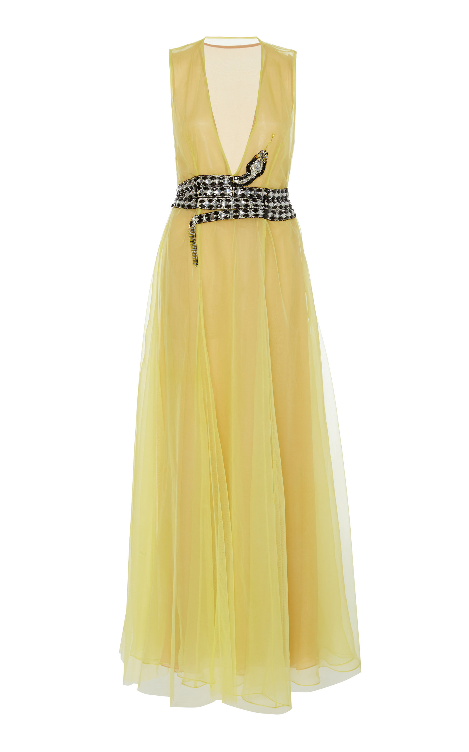CUCCULELLI SHAHEEN Marcasite Tulle Embroidered Gown in Yellow