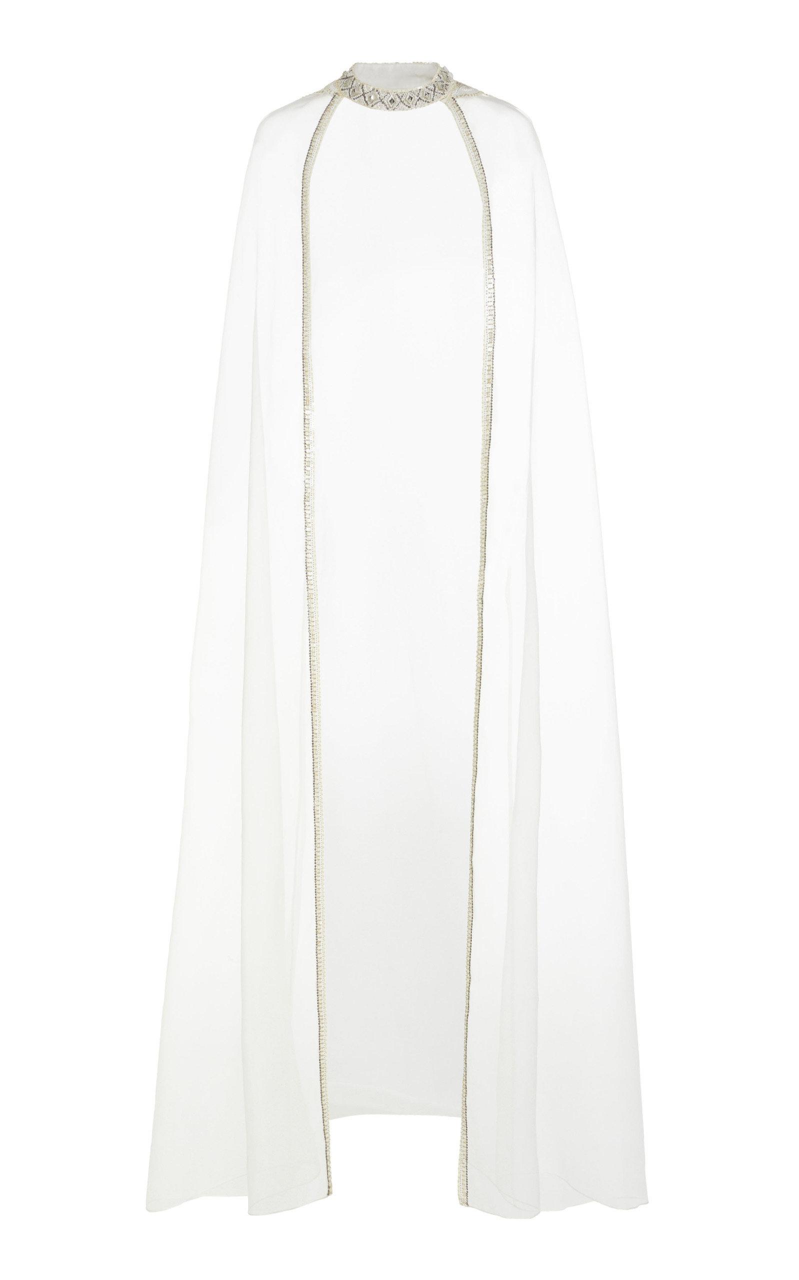 CUCCULELLI SHAHEEN Pearlescent Silk Cape in White