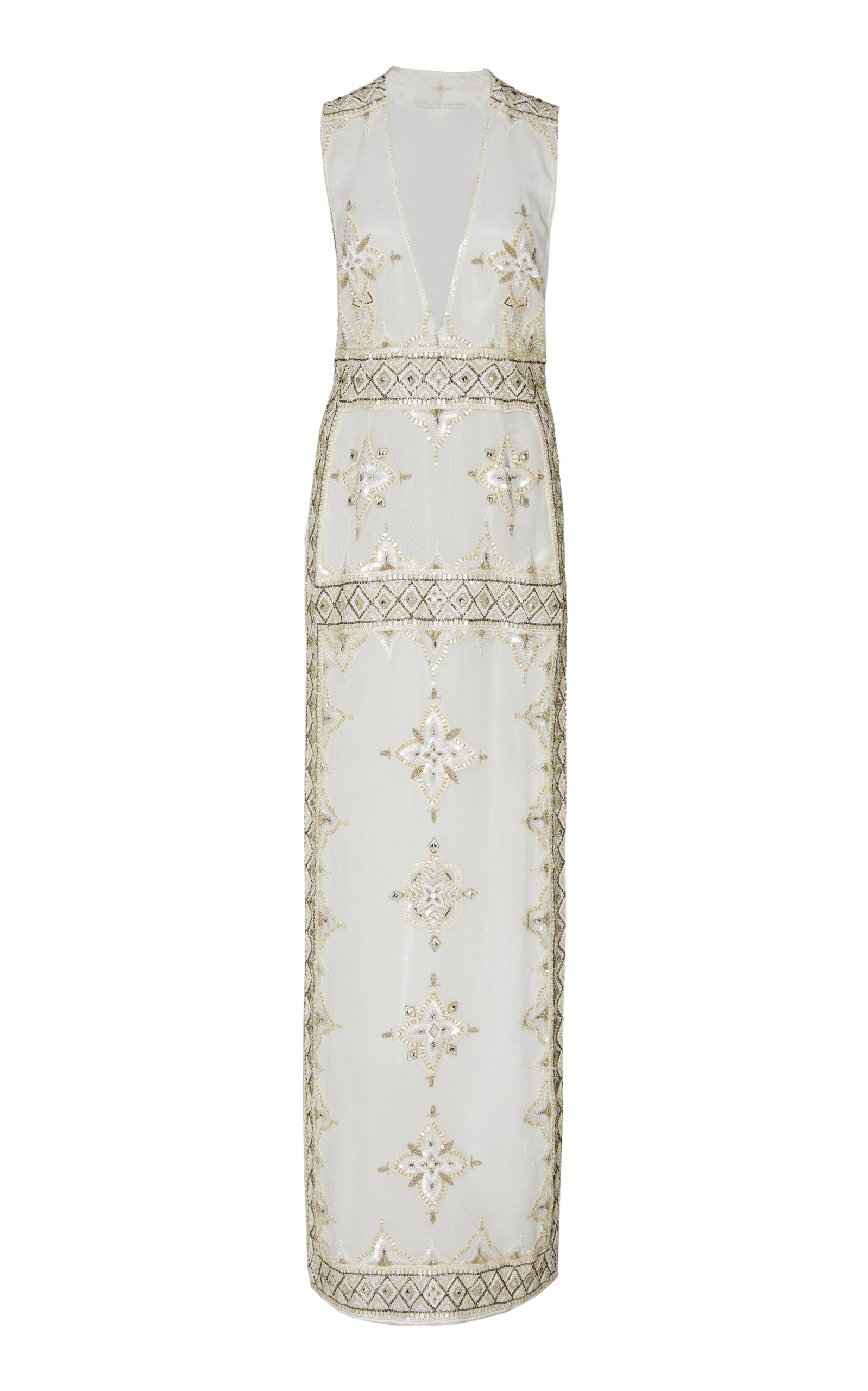 CUCCULELLI SHAHEEN Pearlescent Silk Gown in White
