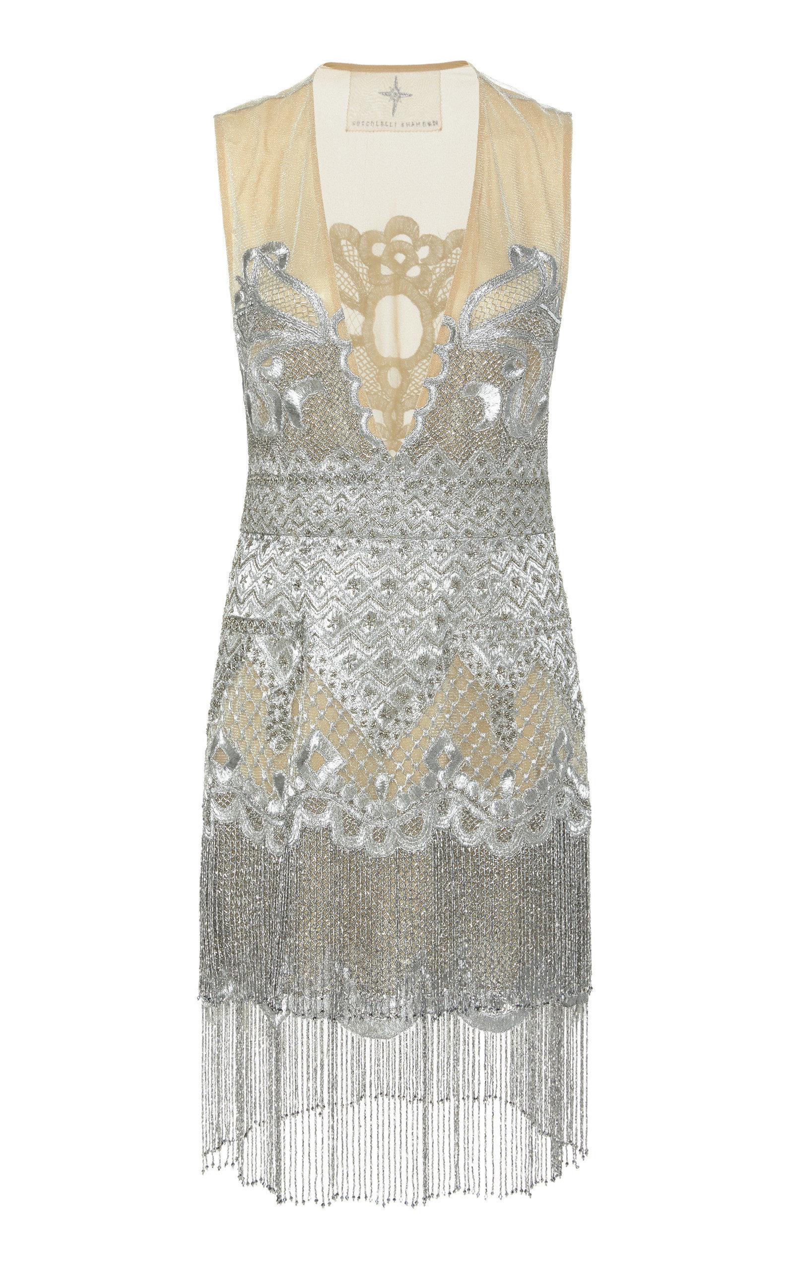 CUCCULELLI SHAHEEN Dreamweaver Silk Mini Dress in Silver