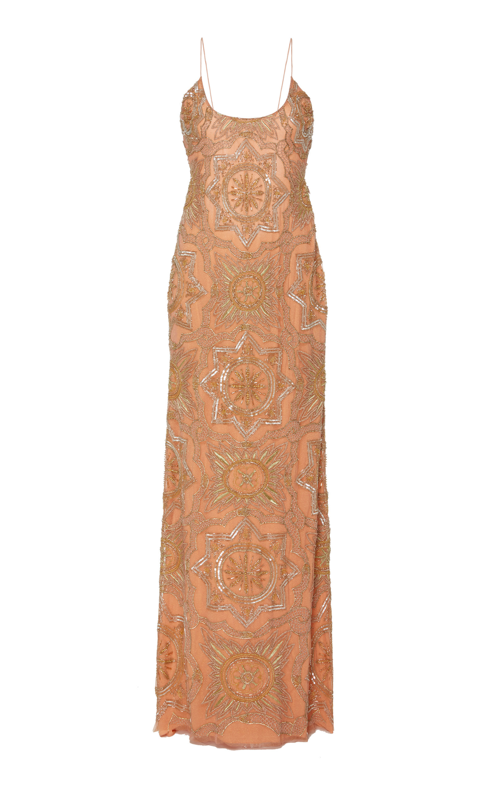 CUCCULELLI SHAHEEN Ouroboro Embroidered Tulle Gown in Pink