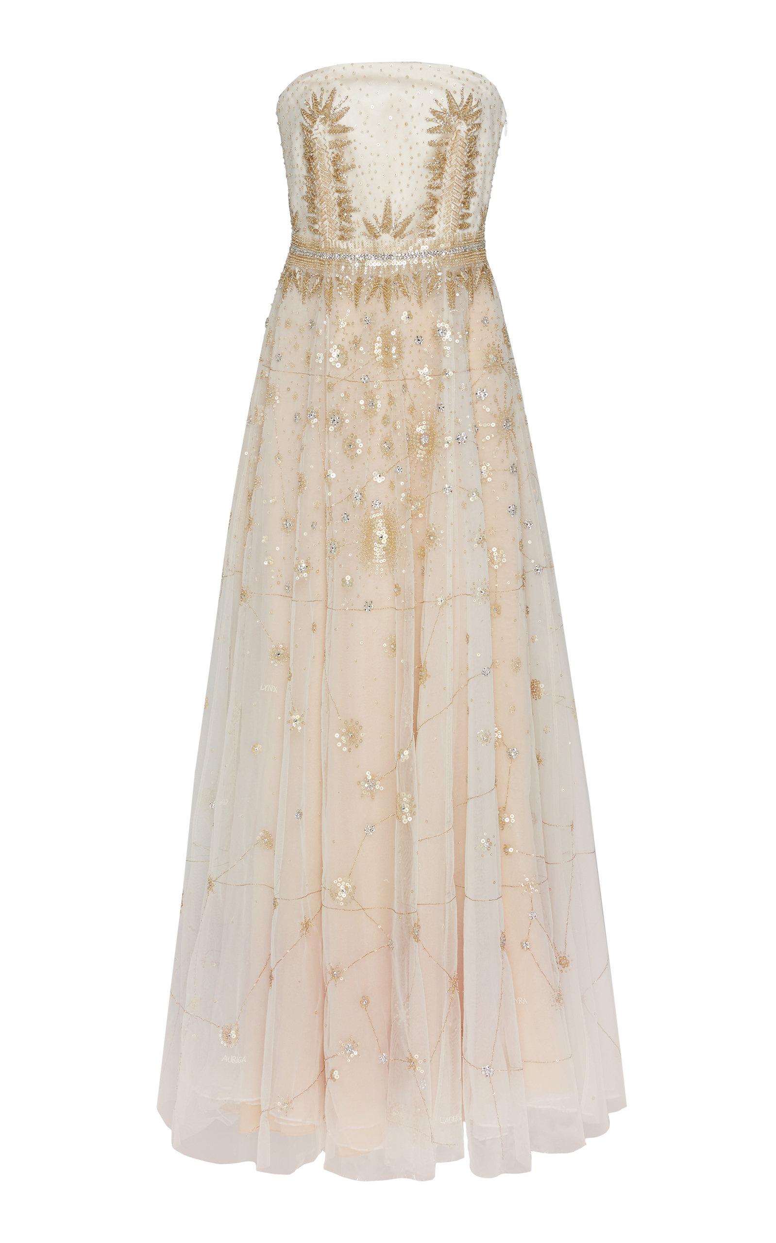 CUCCULELLI SHAHEEN Customizable Constellation Silk Gown in Pink
