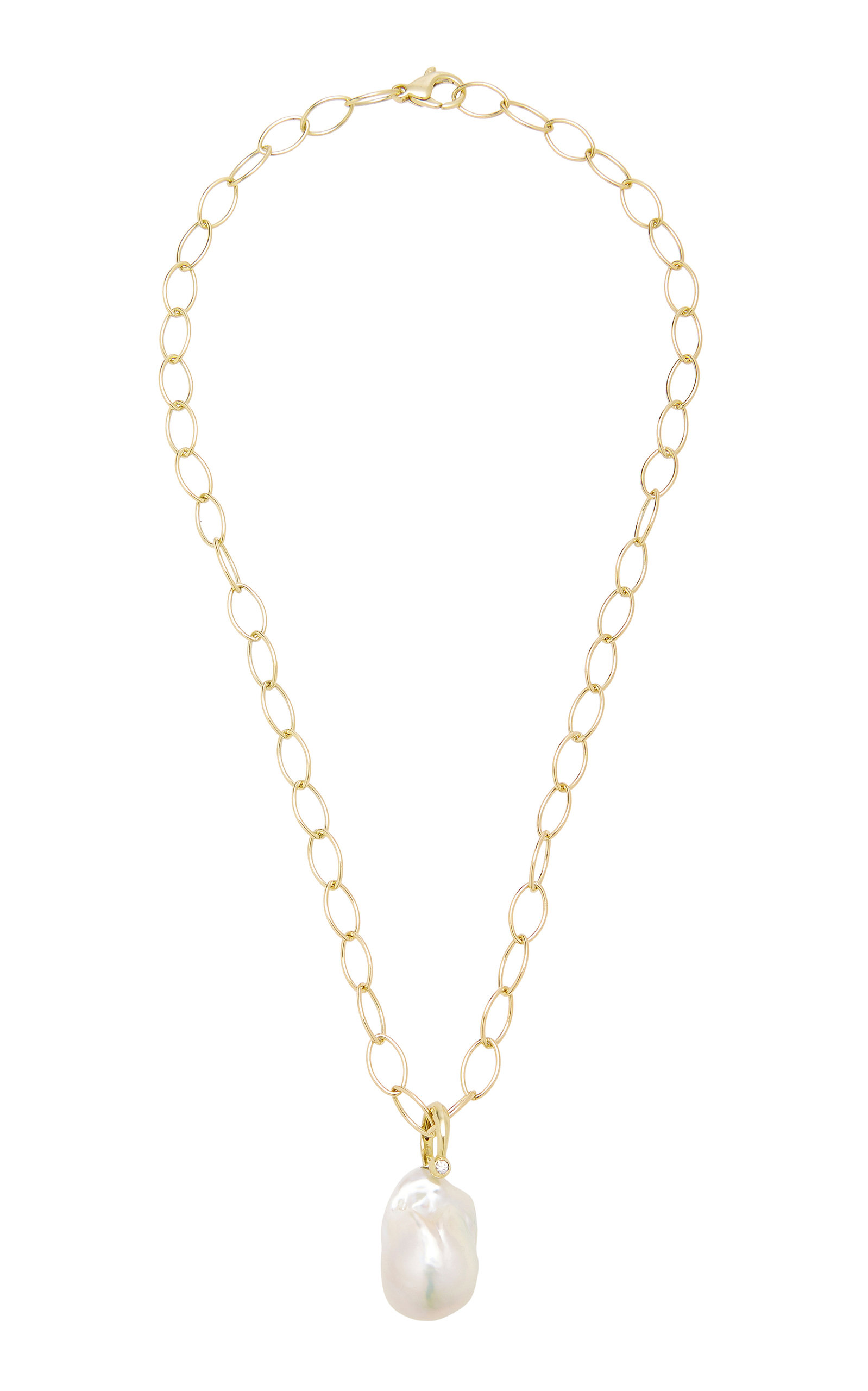 cac3e7a0c78608 Freshwater Pearl And Diamond Ring Slider Charm On Oval Link Necklace ...