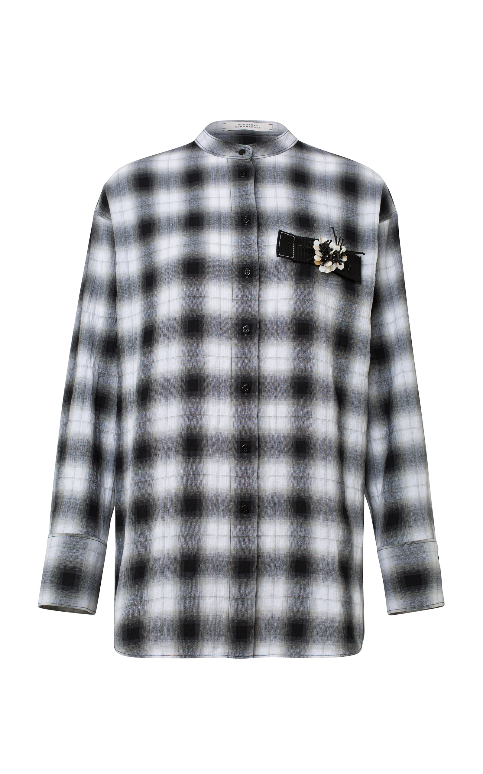 Fragmented Checks Plaid Cotton-Blend Top in Black