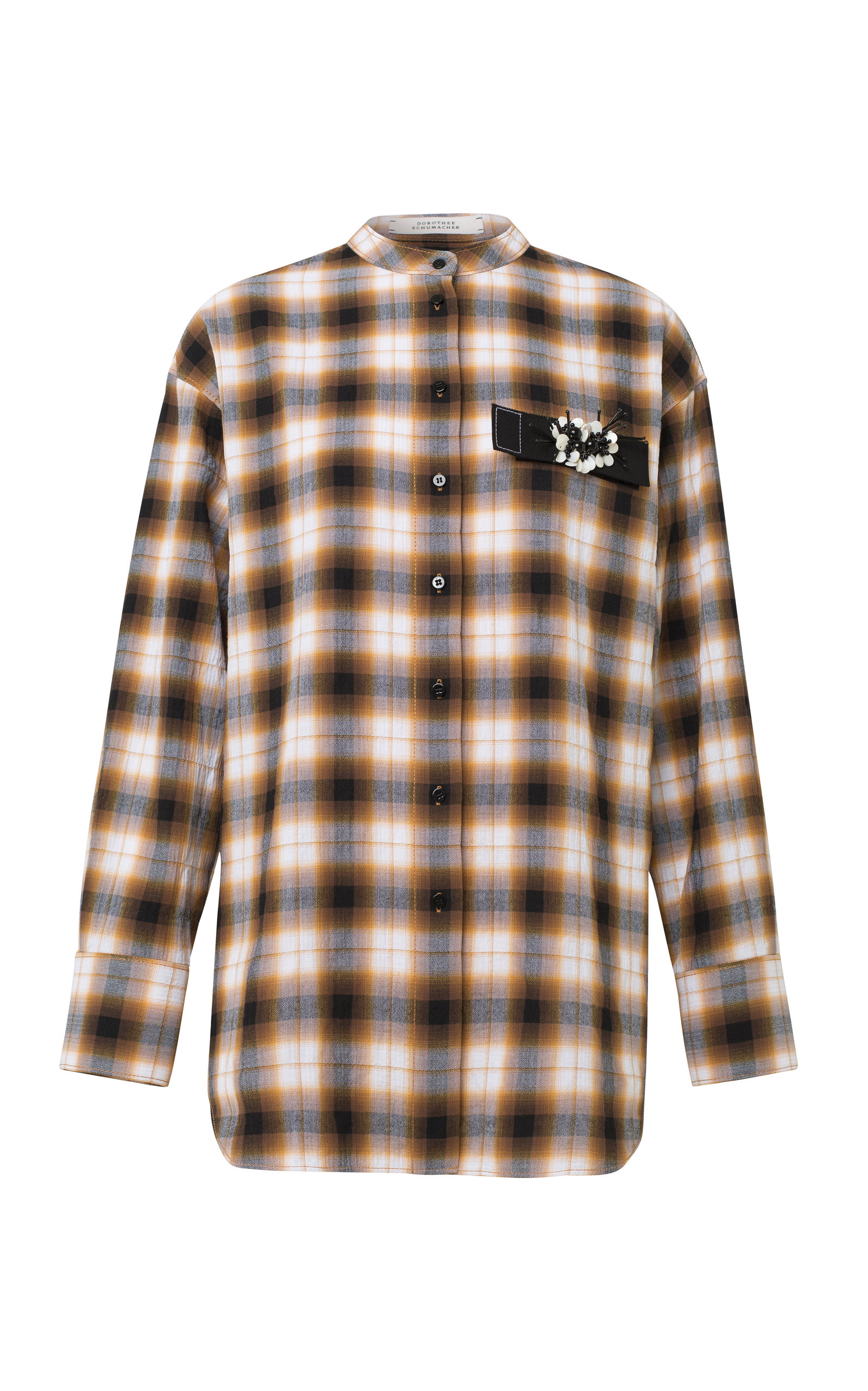 Fragmented Checks Plaid Cotton-Blend Top in Orange