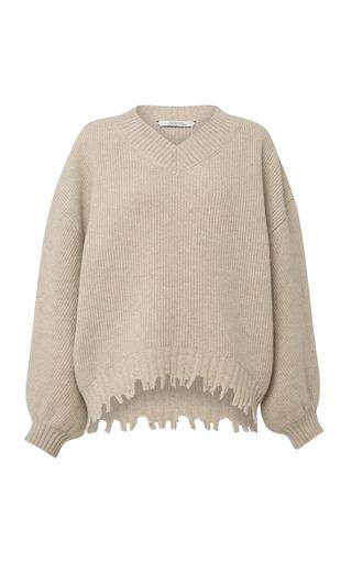 DOROTHEE SCHUMACHER | Dorothee Schumacher Fringe Vitality Destroyed Wool-Cashmere Sweater | Goxip