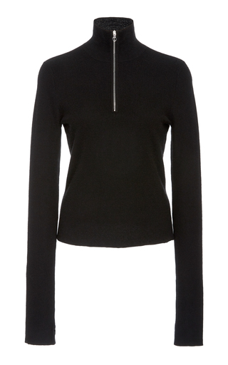Sally Lapointe ZIP-DETAILED CASHMERE-BLEND SWEATER