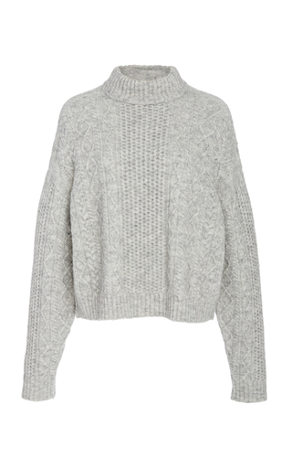 Sally Lapointe CABLE-KNIT WOOL-BLEND SWEATER