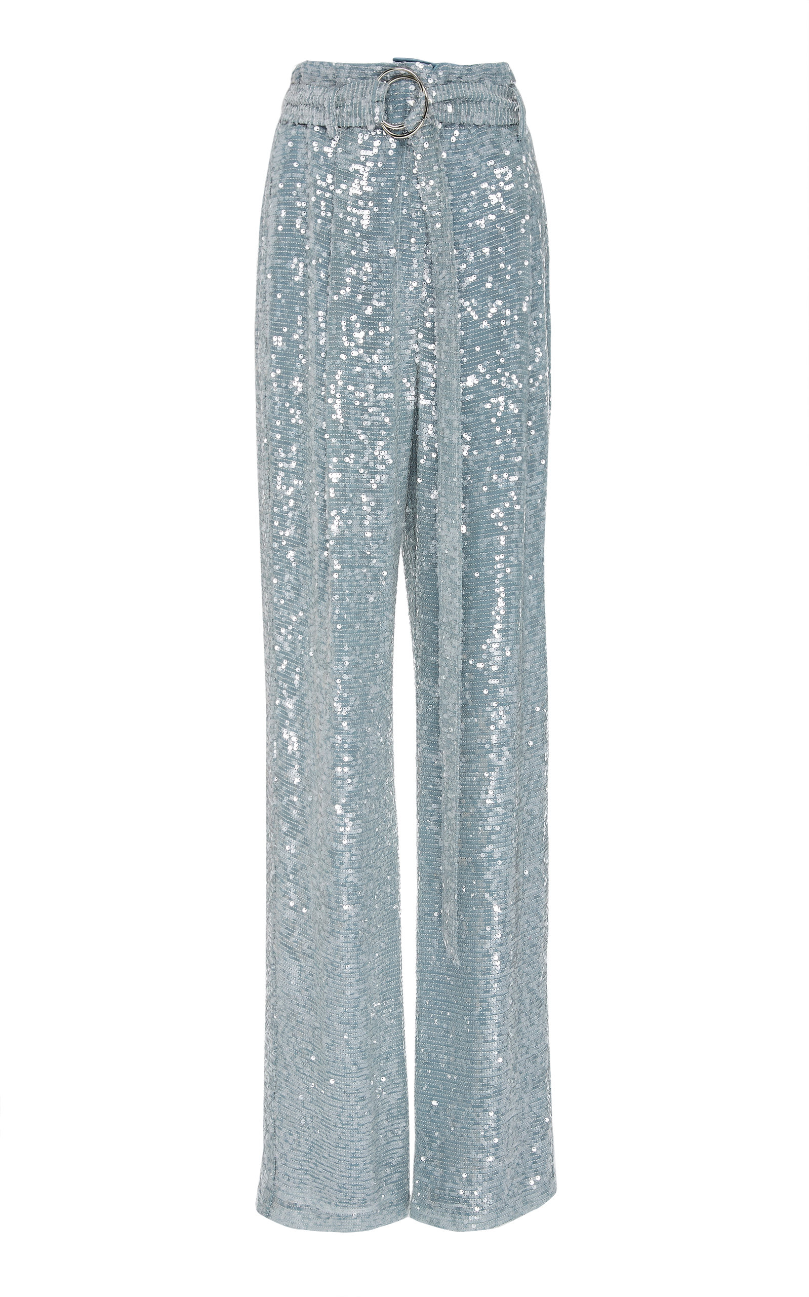 Sally Lapointe SEQUINED CREPE STRAIGHT-LEG PANTS SIZE: 14