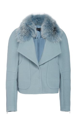 Sally Lapointe FUR-TRIMMED WOOL-BLEND JACKET