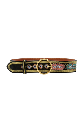 ETRO | Etro Embroidered Textured-Leather Belt | Goxip